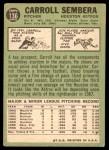 1967 Topps #136  Carroll Sembera  Back Thumbnail