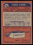 1973 Topps #521  Fred Carr  Back Thumbnail
