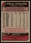 1977 Topps #125  Paul Krause  Back Thumbnail
