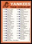 1973 Topps Blue Checklist   Yankees Back Thumbnail
