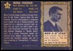 1953 Topps Who-Z-At Star #73  Mona Freeman  Back Thumbnail