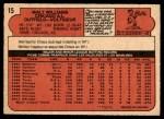 1972 O-Pee-Chee #15  Walt Williams  Back Thumbnail