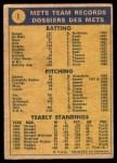1970 O-Pee-Chee #1   Mets Team Back Thumbnail