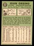 1967 Topps #207  John Orsino  Back Thumbnail