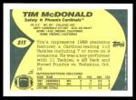 1989 Topps Traded #21 T Tim McDonald  Back Thumbnail