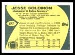 1989 Topps Traded #57 T Jesse Solomon  Back Thumbnail
