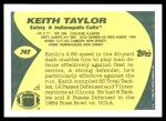 1989 Topps Traded #74 T Keith Taylor  Back Thumbnail