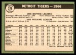 1967 Topps #378   Tigers Team Back Thumbnail