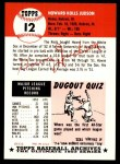 1953 Topps Archives #12  Howie Judson  Back Thumbnail
