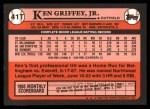 1989 Topps Traded #41 T Ken Griffey Jr.  Back Thumbnail