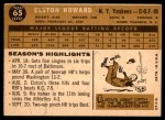 1960 Topps #65  Elston Howard  Back Thumbnail