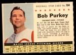 1961 Post Cereal #184 COM Bob Purkey  Front Thumbnail