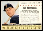 1961 Post #128 COM Bill Mazeroski   Front Thumbnail