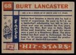 1957 Topps Hit Stars #68  Burt Lancaster   Back Thumbnail