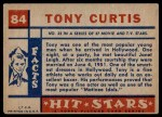 1957 Topps Hit Stars #84  Tony Curtis   Back Thumbnail
