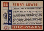 1957 Topps Hit Stars #86  Jerry Lewis  Back Thumbnail