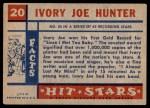 1957 Topps Hit Stars #20  Ivory Joe Hunter  Back Thumbnail