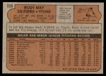 1972 Topps #656  Rudy May  Back Thumbnail