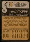 1973 Topps #48  Paul Splittorff  Back Thumbnail