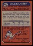 1973 Topps #410  Willie Lanier  Back Thumbnail