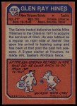 1973 Topps #432  Glen Ray Hines  Back Thumbnail