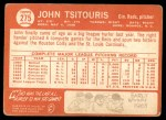 1964 Topps #275  John Tsitouris  Back Thumbnail