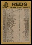 1974 Topps Red Team Checklist   Reds Team Checklist Back Thumbnail