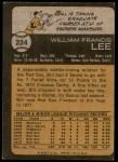 1973 Topps #224  Bill Lee  Back Thumbnail