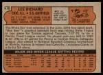 1972 Topps #476  Lee Richard  Back Thumbnail