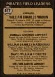 1973 Topps #517 BRN  -  Bill Virdon / Don Leppert / Bill Mazeroski / Dave Ricketts / Mel Wright Pirates Leaders Back Thumbnail