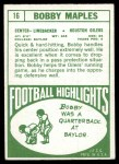 1968 Topps #16  Bobby Maples  Back Thumbnail