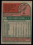 1975 Topps #42  Joe Coleman  Back Thumbnail