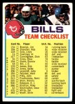 1973 Topps  Checklist   Bills Front Thumbnail