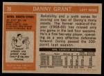 1972 Topps #39  Danny Grant  Back Thumbnail