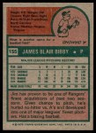 1975 Topps #155  Jim Bibby  Back Thumbnail