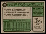 1974 Topps #30  Bobby Bonds  Back Thumbnail