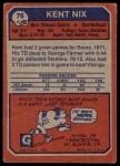 1973 Topps #76  Kent Nix  Back Thumbnail