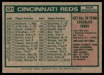 1975 Topps #531   -  Sparky Anderson Reds Team Checklist Back Thumbnail