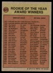 1972 Topps #625   Rookie of the Year Award Back Thumbnail