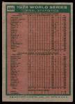 1975 Topps #466   -  Rollie Fingers / Reggie Jackson / Dick Williams 1974 World Series - Summary - A's Do it Again Back Thumbnail