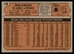 1972 Topps #130  Bob Gibson  Back Thumbnail