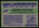 1976 Topps #170  Denis Potvin  Back Thumbnail