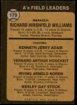 1973 Topps #179 ORG  -  Dick Williams / Jerry Adair / Vern Hoscheit / Irv Noren / Wes Stock A's Leaders Back Thumbnail