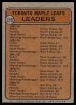 1974 Topps #219   -  Darryl Sittler / Norm Ullman / Paul Henderson / Denis Dupere Maple Leafs Leaders Back Thumbnail