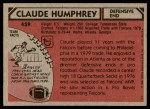 1980 Topps #459  Claude Humphrey  Back Thumbnail