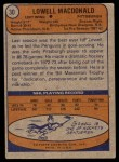 1974 Topps #30  Lowell MacDonald  Back Thumbnail