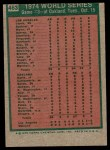 1975 Topps #463   -  Rollie Fingers 1974 World Series - Game #3 Back Thumbnail