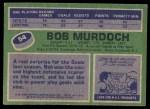 1976 Topps #54  Bob Murdoch  Back Thumbnail