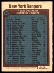 1977 O-Pee-Chee #82   Rangers Team Back Thumbnail