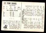 1962 Bell Brand Dodgers #12  Tommy Davis  Back Thumbnail